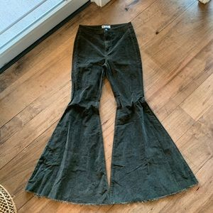 Free people super flares green corduroy